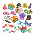 different elements for carnival funny masks for vector image