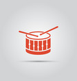 drum with drumsticks isolated flat icon vector image