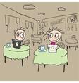 Girl in cafe flirting ogle cartoon vector image