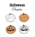 halloween pumpkin sketch set vector image