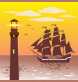 lighthouse silhouette against the sky and the sea vector image
