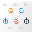 Person icons set collection of work man beloveds vector image