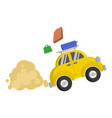 picture isolated of a small yellow car that vector image