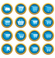 shopping cart icons blue circle set vector image