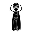 silhouette black full body superhero guy with vector image