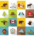 Canada travel icons set flat style vector image