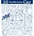 Car and drive Set of 35 doodle icon in blue vector image
