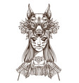 a woman with a mask of a wolf beautiful girl in a vector image