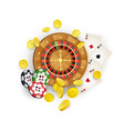 casino symbols - roulette  chips cards coins vector image