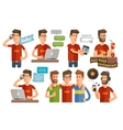 modern young people icons set vector image