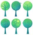 Ornate geometric trees vector image