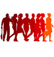 set red silhouettes of beautiful man and woman on vector image