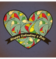 valentine day card with leaves and heart vector image