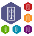 thermometer icons set hexagon vector image