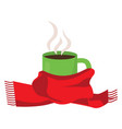 hot coffee in cup with scarf vector image
