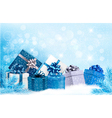 Christmas blue background with gift boxes and vector image