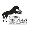 Black horse christmas background vector image