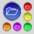 Folder icon sign Round symbol on bright colourful vector image