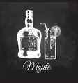 hand sketched mojito glass and rum bottle vector image
