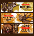 hunting sport hunter club banner with wild animal vector image