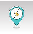 Lightning pin map icon Meteorology Weather vector image