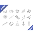 Marine outline icons set vector image