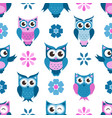 seamless pattern with funny owls and flowers vector image