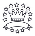 victorycrown with stars and ribbons line vector image