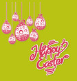 hanging easter eggs text vector image vector image