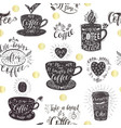Seamless pattern with coffee quotes vector image