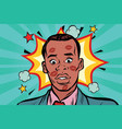 kissed the embarrassed african man with lipstick vector image vector image