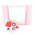 Beautiful romance window with flowers vector image vector image