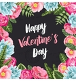 Valentines greeting card with painted flowers vector image