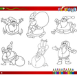 christmas themes coloring book vector image