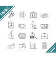 Finance and investing outline icons set vector image