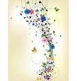 Floral musical background with notes vector image