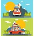 Car Trip Family Adult Children Road Concept Flat vector image vector image