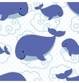 Seamless pattern with cute cartoon whales vector image