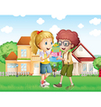A boy and a girl exchanging gifts in front of the vector image