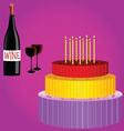 birthday cake with wine cartoon vector image