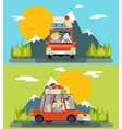 Car Trip Family Adult Children Road Concept Flat vector image