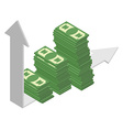 Graph growth income Sales growth A bunch of cash vector image