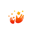 hand slap star party happy logo vector image