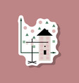 paper sticker on stylish background construction vector image