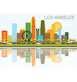 Los Angeles Skyline with Color Buildings vector image