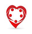 Heart shape teamwork people logo vector image vector image