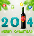 Christmas background bottle of wine and balls vector image vector image