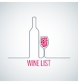 wine bottle glass list menu background vector image vector image