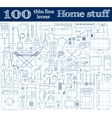 Home stuff icons Set of 100 thin line objects in vector image
