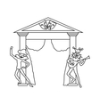 Theater stage with open curtains and actors icon vector image